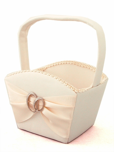 Ivory Satin Basket w/ Two Rings