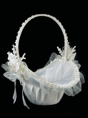 Ivory Satin Basket with Trimming