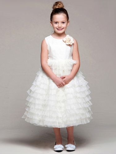 Ivory Satin Bodice Layered Tulle Dress