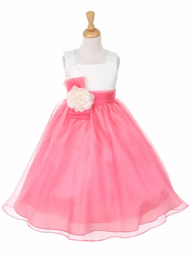 Coral Satin Bodice w/ Organza Skirt Dress