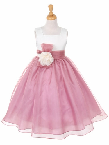 Mauve Satin Bodice w/ Organza Skirt Dress