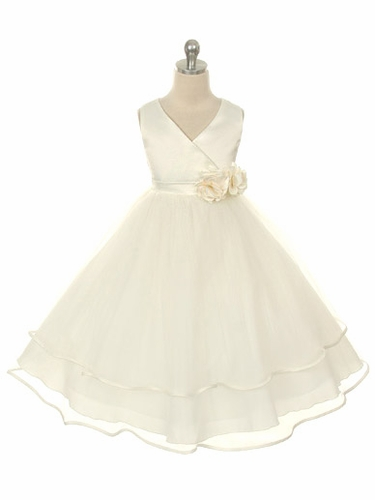 Ivory Satin Bodice with Layered Tulle Skirt