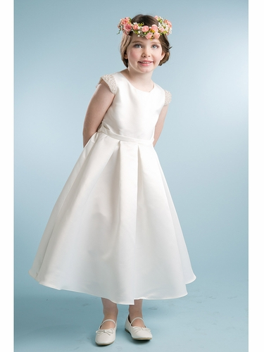 Ivory Satin Dress w/ Pearl Cap Sleeve