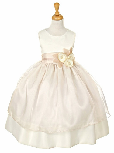 Ivory Satin Dress w/ Tulle Overlay & Flowered Sash