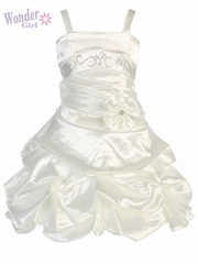 Ivory Satin Gathered Dress w/ Rhinestones & Pleated Waistline