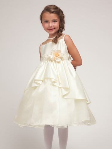 Ivory Satin & Organza Layered  Dress w/Satin Bodice