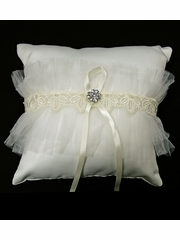 Ivory Satin Ring Bearer Pillow w/ Lace & Rhinestone