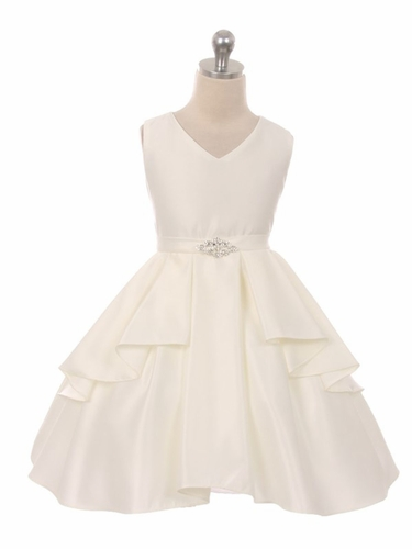 Ivory Satin Sleeveless V-Neck Dress w/ Ruffles