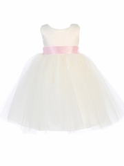 Ivory Satin & Tulle Dress w/ Bow & Flower Satin Ribbon Sash