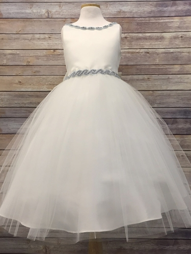 Ivory Satin & Tulle Dress w/ Gem Neckline & Belt