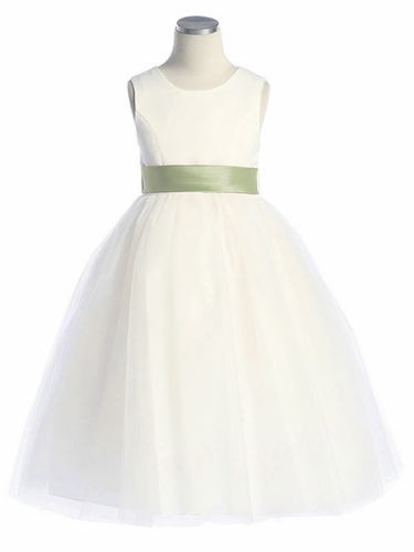 Ivory Satin Tulle Dress w/ Removable Sash
