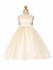 Ivory Satin & Tulle Dress w/ Sash