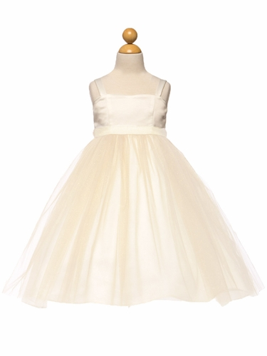 Ivory/Gold Satin & Tulle Dress w/ Sash