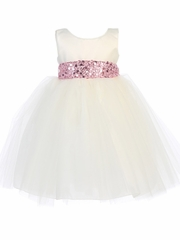 Ivory Satin & Tulle Dress w/ Sequined Sash