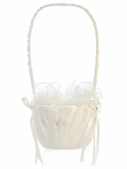 Ivory Satin w/ Sequins on Embroidery Basket