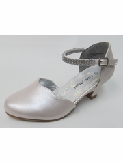 Ivory Scalloped Low Heel Girls Dress Shoe w/ Rhinestone Strap