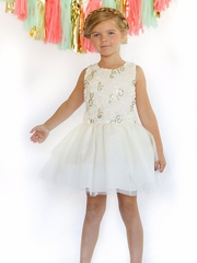 Ivory Sequin 3D Floral Tutu Dress