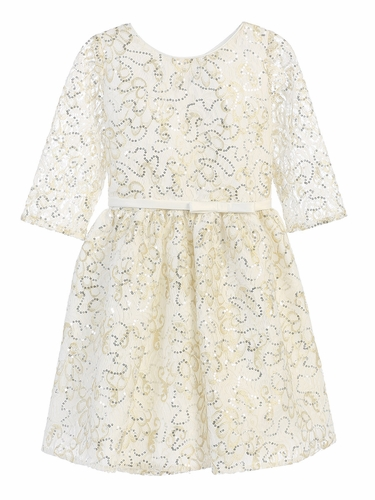Ivory Sequin Lace w/ Gold Leaf Print