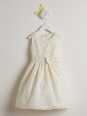 Ivory Sequin & Ribbon Embroidered Mesh Dress