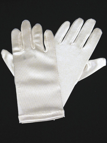 Ivory Short Satin Gloves