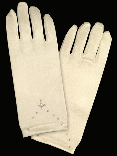 Ivory Short Satin Gloves w/ Rhinestone Cross Accent