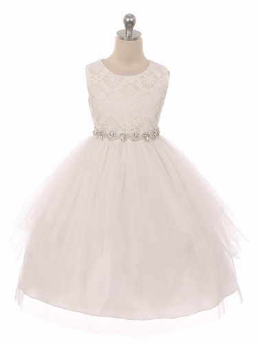 Ivory Sleeveless Lace Contrast Double Tulle Dress w/ Bejeweled Waist
