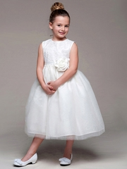 Ivory Sleeveless Sequin Bodice w/ Tulle Skirt Dress