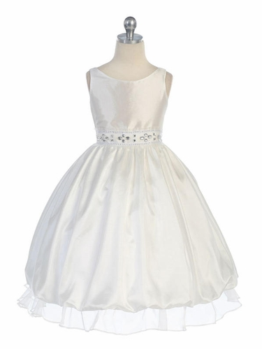 Ivory Sleeveless Taffeta Dress with Adorned Waistline