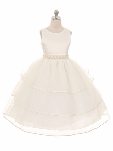 Ivory Special Organza Tea Length Dress w/ Pearly Band