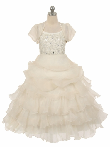 Ivory Special Silk Organza Dress w/ Beaded Bodice & Bolero