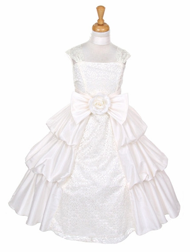 Ivory Taffeta Layered Dress w/ Lace