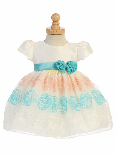 Ivory & Teal Embroidered Organza Baby Dress