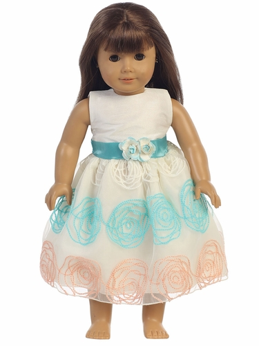 "Ivory & Teal Shantung & Embroidered Organza 18"" Doll Dress"