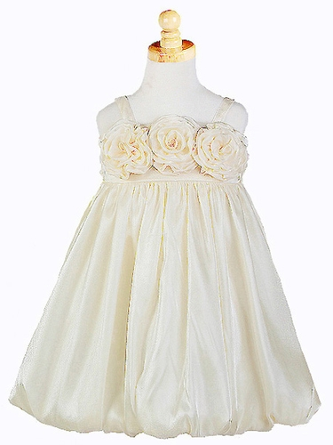 Ivory Triple Rosebud Shimmering Dress