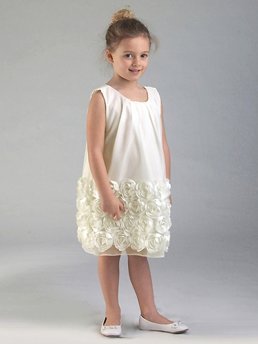 Ivory Tulle Baby Doll Dress w/ Floral Trim