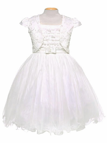 Ivory Tulle & Pearl Sleeveless Dress w/ Bolero