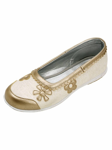 Ivory w/ Gold Flower Embroidered Ballet Flat Shoes