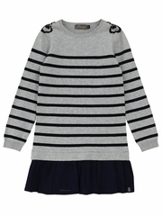 Jean Bourget Striped Dress w/ Black Trim