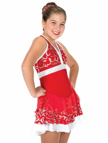 Jerry's Flame Red Silver Scroll Dress