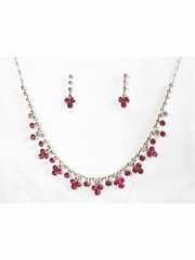 Fuchsia Rhinestone w/ Swarovski Crystal Earrings & Necklace Set