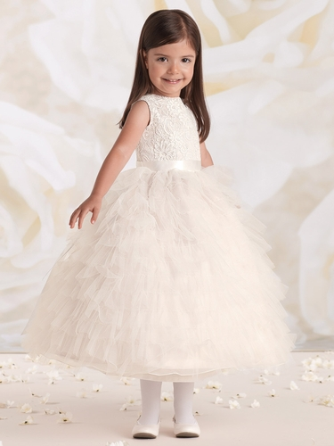 Joan Calabrese Ivory/ Petal Satin & Tulle Ruffled Layered Dress w/ Lace Bodice