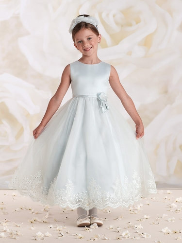 Joan Calabrese Ivory/ Porcelain Blue Satin Tulle Lace Dress w/ Bow & Beaded Flower