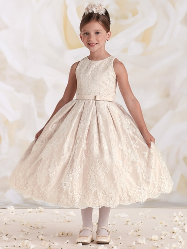 Joan Calabrese Ivory Satin & Lace Dress w/ Bow