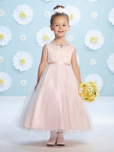 Joan Calabrese Pink Tulle Ruched Bodice Flower Girl Dress