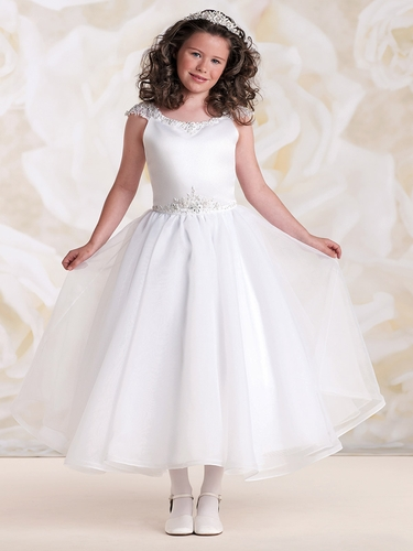 Joan Calabrese Satin & Organza Dress w/ Beaded Detailing