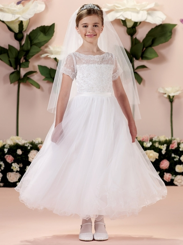Joan Calabrese Satin, Tulle, & Lace Dress w/ Illusion & Lace Short Sleeves
