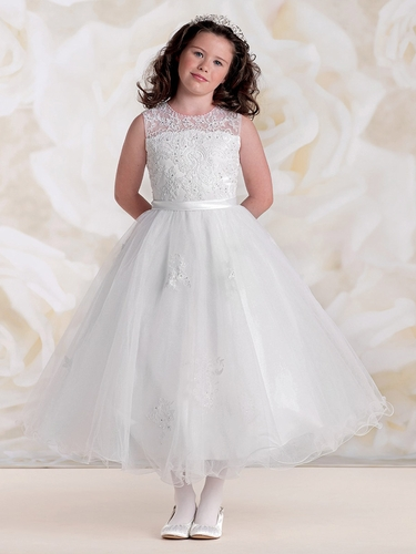 Joan Calabrese White Jewel Illusion Neckline & Multi-Layer Tulle Skirt
