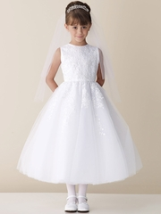 Joan Calabrese White Lace Appliqu� Tulle Communion Dress