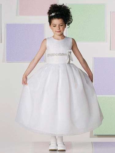 Joan Calabrese White Satin & Organza A-line Dress