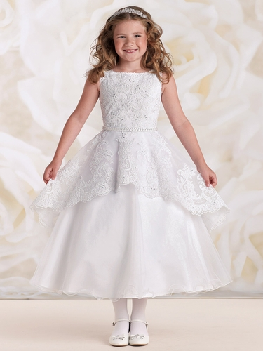 Joan Calabrese White Satin Tulle & Lace Peplum Effect Dress